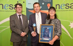 Martin Hehir (left), Deputy Secretary of the Department of Employment, who presented the award to Nick O'Callaghan and Wendy Dawson from Sodexo.