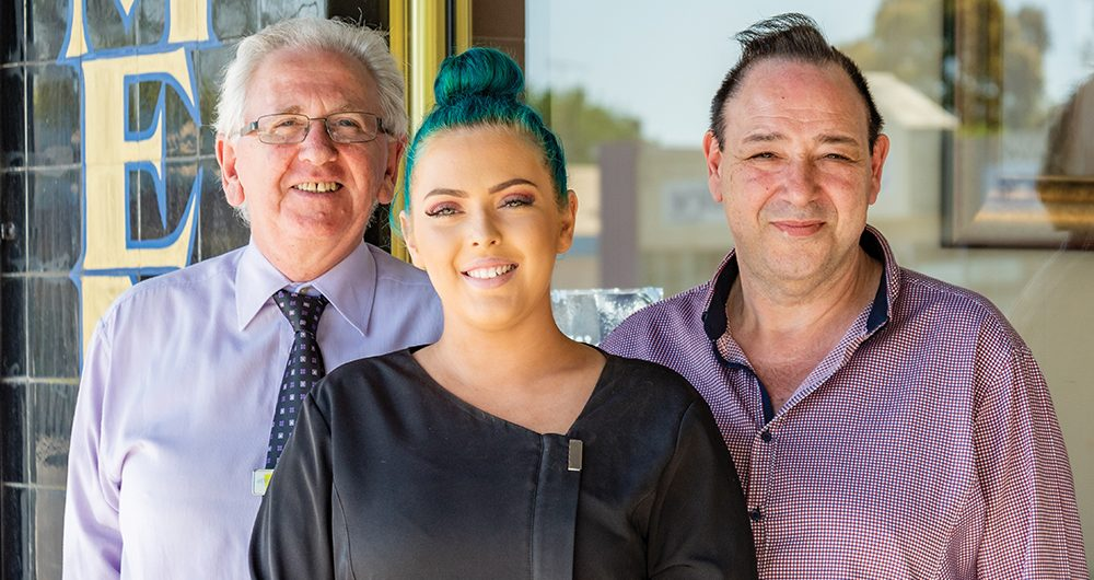 atWork Australia client Cherene with her Job Coach Terry and employer Peter