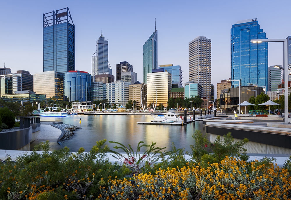 Cityscape of Perth WA from Elizabeth Quay Just after sunset